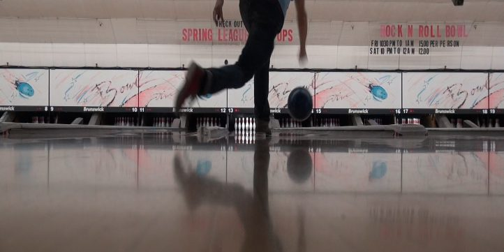 bowling at old-fashioned bowling alley