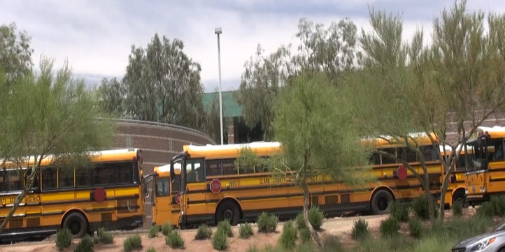 School Buses Lined up at school