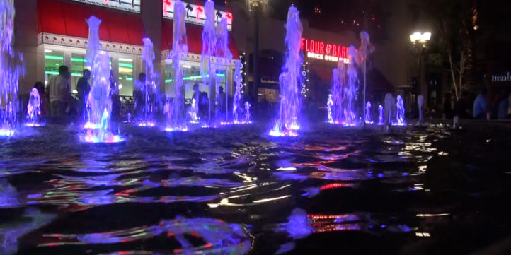 colored lights and water