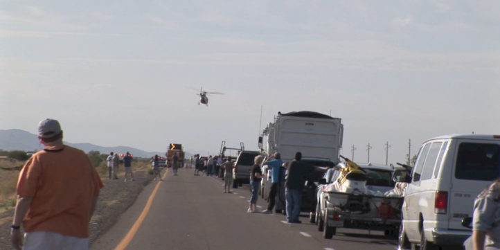 traffic jam - helicopter swooping over